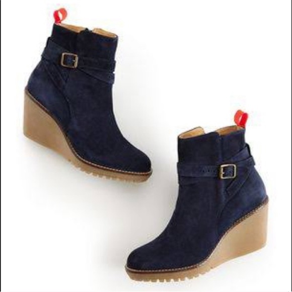 Boden Suede Leather Navy Bootie Wedge